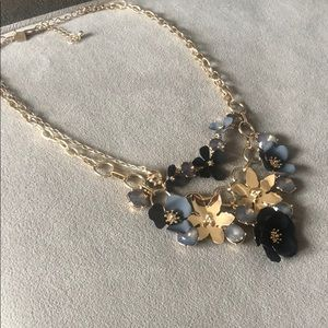 Banana Republic Blue & Gold Flower Necklace